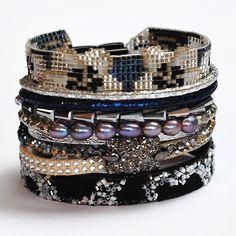 Hipanema Tahiti Bracelet - black silver metallic clasp - cocobay.co.uk