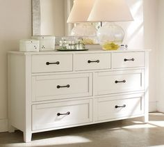 Stratton Extra-Wide Dresser | Pottery Barn outlet ~$580. per salotto di fronte al divano