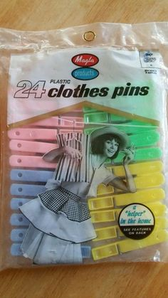 Vintage 1960s Magla Products 24 Colorful Plastic Clothes Pins Clothespins in Home & Garden, Household Supplies & Cleaning, Laundry Supplies   eBay