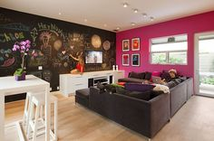 Contemporary Design, Chalk board walk paint, in teen lounge Family Friendly Living Room, Room, Room Design, Hangout Room, Interior, Living Room Paint, Home, Contemporary Family Rooms, Game Room Design