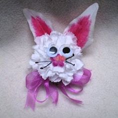 EASTER: Easter bunny corsage made with a hot glue gun and artificial flowers from the dollar store.