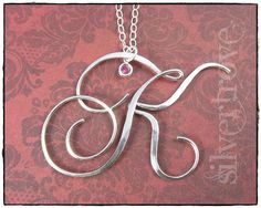 Personalized Birthstone Initial Pendant Large Size by SilverTrove