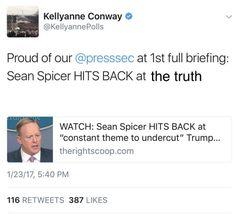Kellyanne Conways tweet about Sean Spicers 1st...
