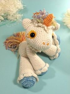 Hermione the Unicorn on Ravelry and other great last minute crochet gift ideas - all take less than 200 yds of yarn! Get the list at mooglyblog.com