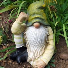 Large Sitting Woodland Garden Gnome Ornament With Green Hat