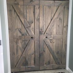 Check out our gorgeous barn door bi-folds! Don't have the space for a traditional barn door, but want to update those tired old bi-folds? Here is your solution! #RusticRoo #barndoors #bifold #barn #door #rustic #rusticdecor #farmhousestyle #farmhouse #carpentry #woodworking #woodwork #pine #interior #design #madeinamerica #aussie