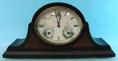 Vintage Wind Up Gilbert Mantel Clock Metal Face Wooden Cabinet Winsted Conn.