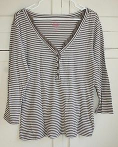 Old Navy Brown and White Stripped Long Sleeve Top Size XL