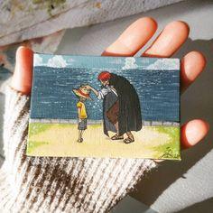 "Gefällt 817 Mal, 13 Kommentare - bibi jay dorian 🏳️🌈🇦🇹🇭🇷 (@bibijaydorian) auf Instagram: ""Luffy & Shanks. I Love this scene. I really don't have anything to say about this tiny painting…"" Jay, Scene, Baseball Cards, My Love, Painting, Instagram, Painting Art, Paintings, Painted Canvas"