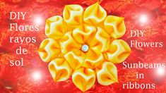 DIY Kanzashi flores rayos de sol en cintas   flowers sunbeams in ribbons