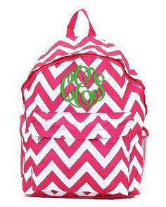 942ea10d85ff Shocking Pink Chevron Personalized Backpack - Hot Pink Monogrammed Girls  Kids Childrens Zig Zag Stripes School