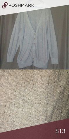 Lane Bryant cardigan Cream cardigan with gold threading.Size tag is missing but fits like a 26. Price reflects this defect. If you have any questions contact me. Lane Bryant Sweaters Cardigans