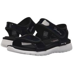 SKECHERS Cali Breeze Low - Starlit (Black) Women's Sandals (£35) ❤ liked on Polyvore featuring shoes, sandals, velcro strap shoes, skechers shoes, strap sandals, black strap sandals and strappy sandals