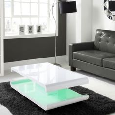 Tiffany White High Gloss Coffee Table with LED Lighting | Furniture123