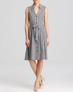 AQUA Shirtdress - Gingham Sleeveless | Bloomingdale's