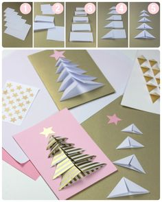 Fast and beautiful: From Paper Christmas Decorations Homemade Christmas Cards, Christmas Cards To Make, Christmas Crafts For Kids, Christmas Activities, Christmas Greeting Cards, Christmas Art, Homemade Cards, Handmade Christmas, Holiday Crafts