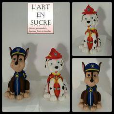 Figurines en pâte à sucre de Chase et Marcus de pat patrouille