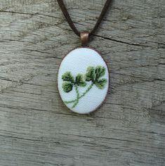 Shamrock pendant Hand embroidery pendant Shamrock от UAtelier