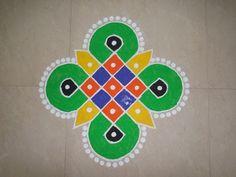 Dots Rangoli Design 5 by 1 Rangoli Designs Simple Diwali, Rangoli Designs Flower, Colorful Rangoli Designs, Rangoli Designs Images, Flower Rangoli, Rangoli Colours, Indian Rangoli, Diwali Craft, Rangoli With Dots