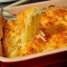Spaghetti Squash Au Gratin- replace the sour cream with Greek yogurt and it's pretty healthy! Even if there is cheese....