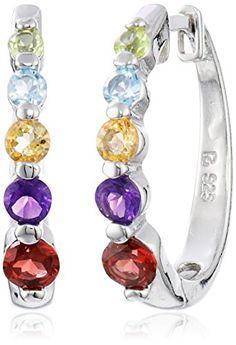 PlatinumPlated Sterling Silver MultiGemstone Hoop Earrings 07 Diameter -- Click image for more details.