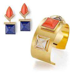 Bretterbauer Juweliere - Unique - Koralle Lapis Lapis Lazuli, High Jewelry, Gold Bangles, Earring Set, Cufflinks, Coral, Gems, Unique, Diamonds