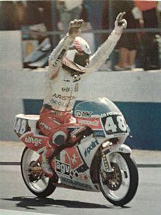 Loris Capirossi - prima vittoria della sua carriera - Donington 1990