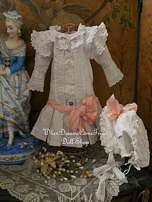 Beautiful French 19th. Century Pique Dress with Bonnet (item #1283394)