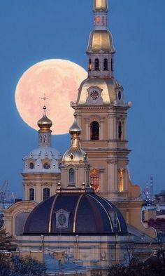 Full moon over Peter and Paul Cathedral, St. Petersburg, Russia (by Ivan Smelov)