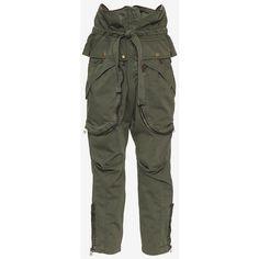 Faith Connexion Zipper Detail Cargo Pants ($890) ❤ liked on Polyvore featuring pants, zipper pocket pants, zip tie belt, cotton trousers, cuffed pants and zip pants
