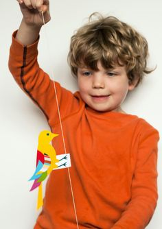 Oscillating Bird Science Toy For Kids with free printables of the birds - found on Made by Joel
