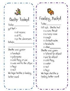 Parent Communication Freebie- When hurt, sick, or work not done.