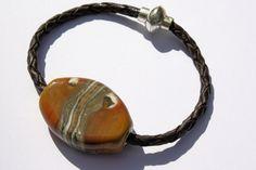 Loretti Design Streetwear Collection - focal bead bracelet on braided leather strand & magnetic clasp. www.lorettidesign.com