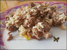 Mélange de riz et sa viande hachée aux épices italien