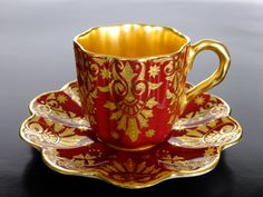 Lovely Coalport china cup and saucer set, England c.1890