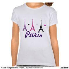 Pink & Purple Eiffel Tower pattern Tees