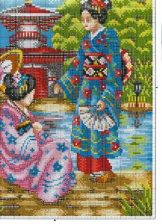 Japanese women of Cross Stitch Kits, Counted Cross Stitch Patterns, Cross Stitch Charts, Cross Stitch Designs, Cross Stitch Embroidery, Cross Stitch Landscape, Cross Stitch Pictures, Sewing Stitches, Cross Stitch Flowers