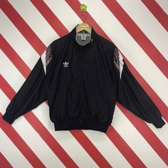 578905567678 Vintage 90s Adidas Jacket Adidas Trefoil Windbreaker Adidas Three Stripe  Hoodie Adidas Descente Zipper Jacket Adidas Track Black Size Medium