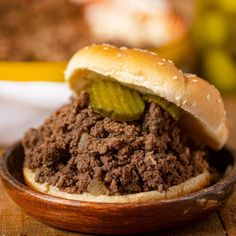 Loose Meat Burger Hamburger Recipes, Ground Beef Recipes, Pork Recipes, Cooking Recipes, Easy Sandwich Recipes, Slider Recipes, Loose Meat Sandwiches, Joe Recipe, 3 Ingredient Recipes
