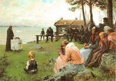 Albert Edelfelt: Gudstjänst i nyländska skärgården - Jumalanpalvelus saaristossa - ervice in the Southern Archipelago - Gottesdienst am See (1881)