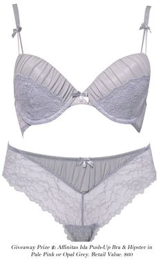 Affinitas Giveaway, Prize 2 - Ida Push-Up Bra and Hipster (opal grey version). Ends May 5.