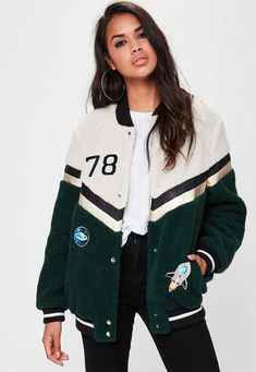 This jacket features a contrasting cream and black hue with a graphic detail to the front. Finished with a popper fastening down the front. My birth year🙌🏼 Varsity Jacket High School, Varsity Jacket Outfit, Varsity Letterman Jackets, Bomber Jacket, Senior Jackets, Jackets For Women, Clothes For Women, Jackets Online, Casual Outfits