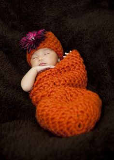 Pumpkin Orange Newborn Cocoon And Hat Set