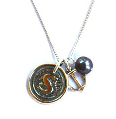 Seafarer Wax Seal Initial Charm Necklace {Sterling Silver}