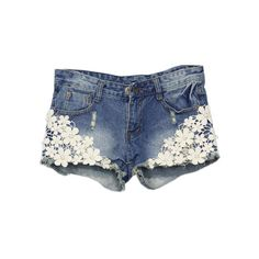 WithChic Lace Pocketed Denim Shorts (85 RON) ❤ liked on Polyvore featuring shorts, bottoms, romwe, destroyed shorts, lace shorts, denim shorts, distressed denim shorts and ripped denim shorts