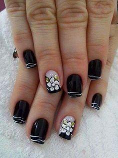 Square Nail Designs, Black Nail Designs, Diy Nail Designs, Beautiful Nail Designs, Nail Manicure, My Nails, Dark Pink Nails, Gel Nagel Design, Finger Nail Art