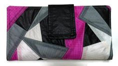 Womens Clutch Wallet Recycled Paraglider Geometric by OffChutes,