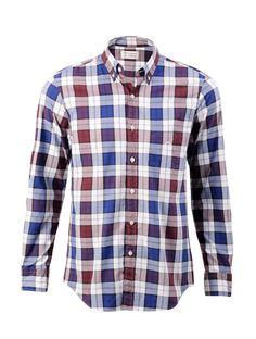 ALUMNUS NEWBURY Long Sleeve Shirt Navy Red Check   Central saved by #ShoppingIS