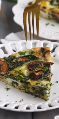 Quiche Recipes, Brunch Recipes, Healthy Dinner Recipes, Diet Recipes, Vegetarian Recipes, Cooking Recipes, Breakfast Dishes, Breakfast Recipes, Spinach Quiche