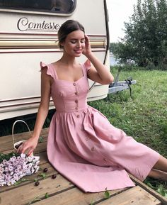 30 Cute Summer Outfits for Women and Teen Girls Casual Simple Street Styles - Lifestyle State Mode Outfits, Dress Outfits, Fashion Dresses, Dress Up, Fashion Clothes, Sundress Outfit, Pink Sundress, Rose Dress, Style Clothes